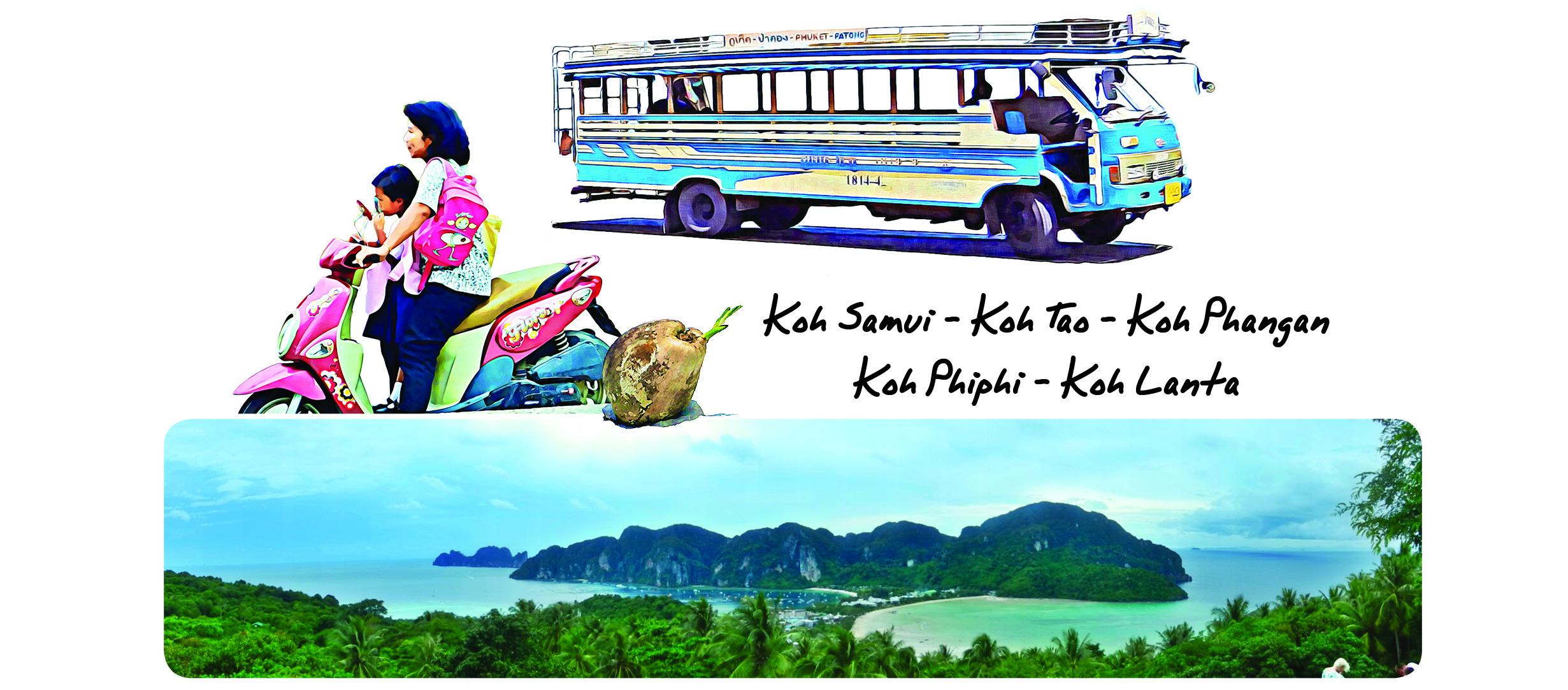 Voyage en Thaïlande. L'île de Koh Phi Phi dans la mer turquoise est formée de montagnes et de jungle.