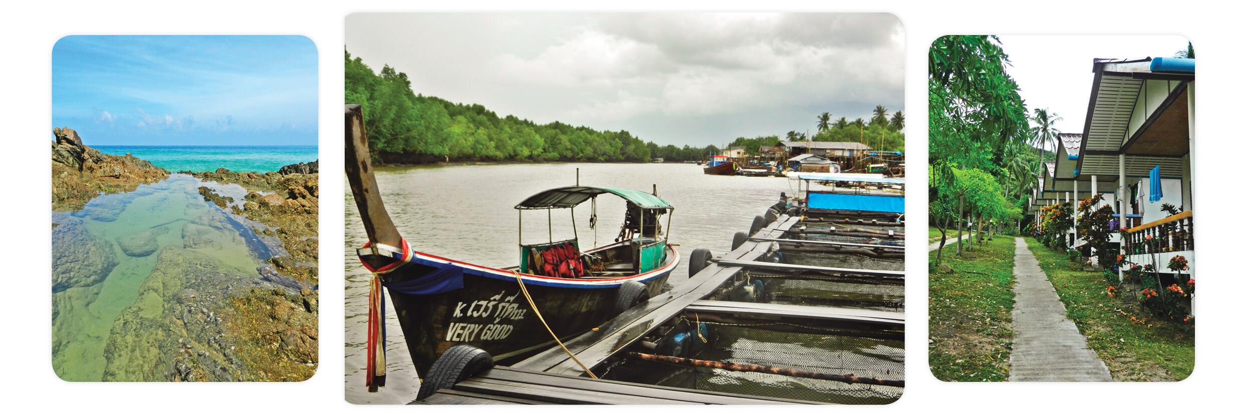 voyage en thailande, l'océan sur la côte d'Andaman et long tail boat dans les mangroves de krabi