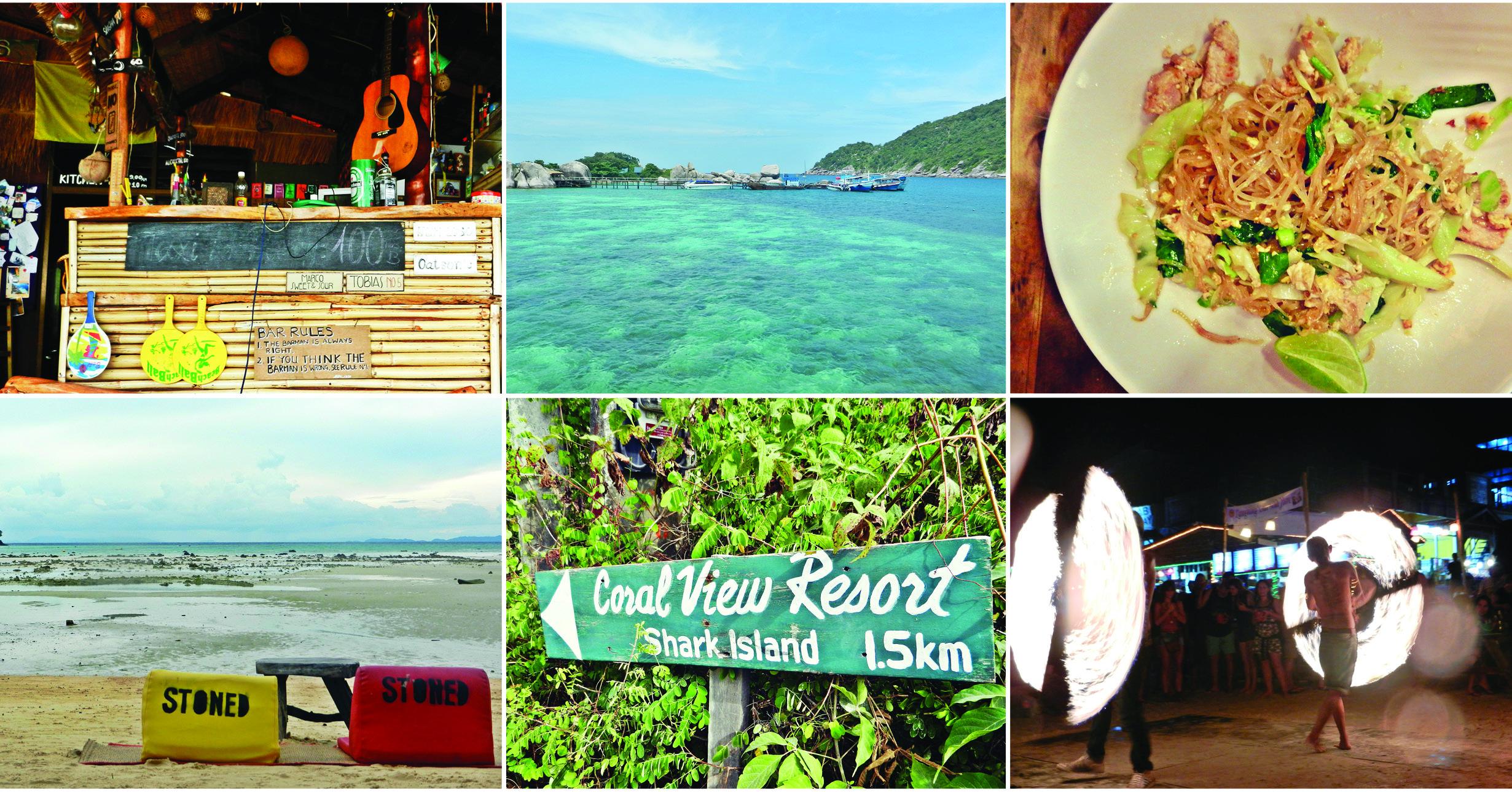 Voyage en Thaïlande. Snorkeling et détente à la plage sur l'île de Koh Tao. Délicieux Pad thaï et Full moon party à Koh Phangan