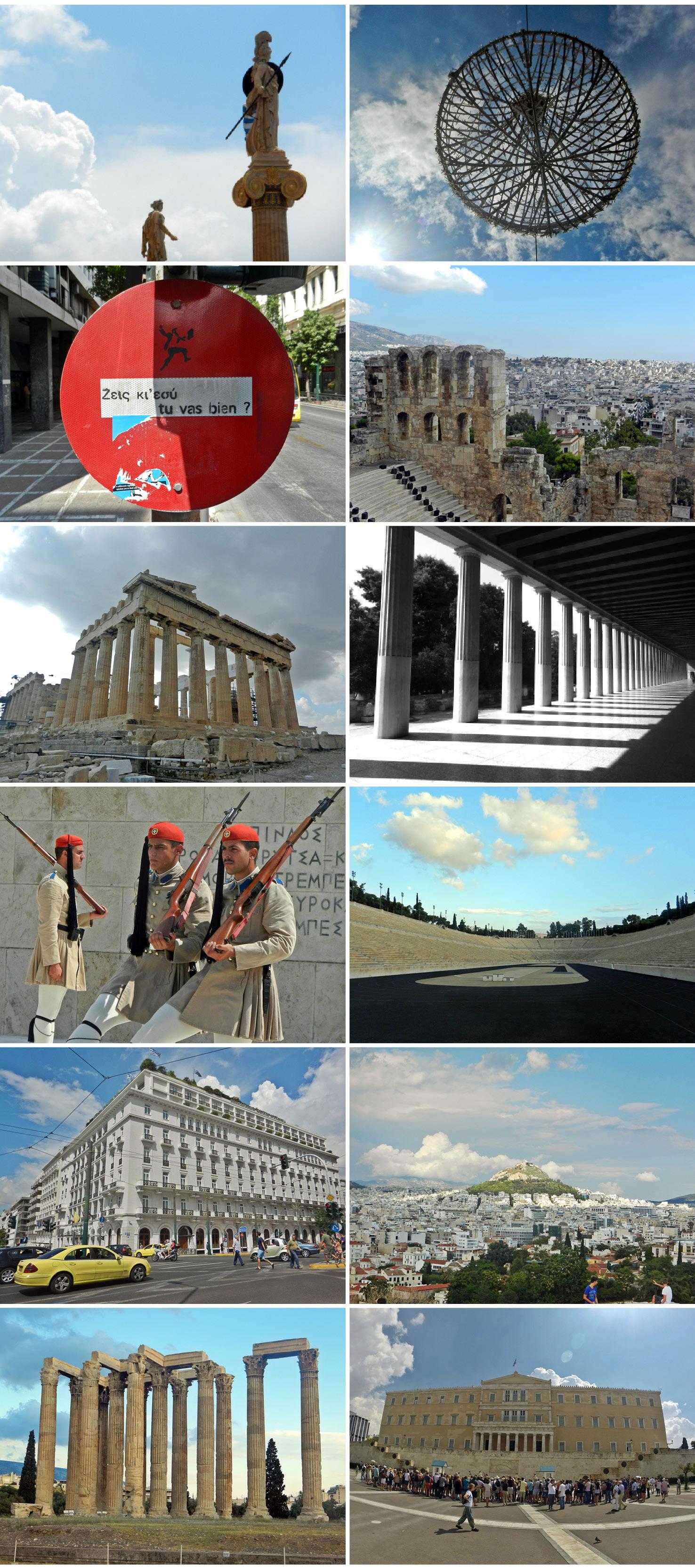 Statuts et ruines de temple à l'Acropole d'Athènes en Grèce.