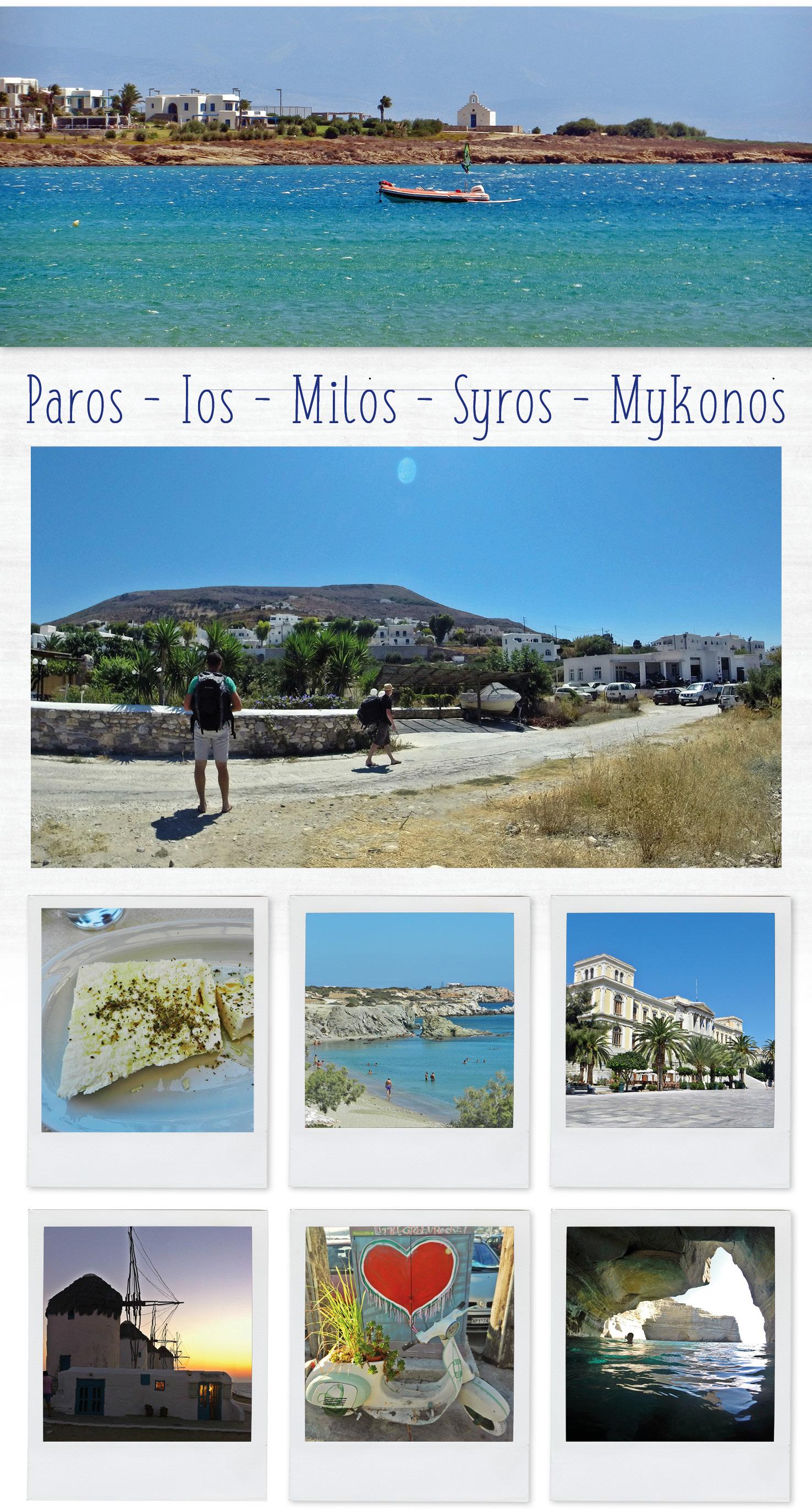 La mer bleue à Paros dans les Cyclades en Grèce. Fromage Fêta et moulin à Mykonos
