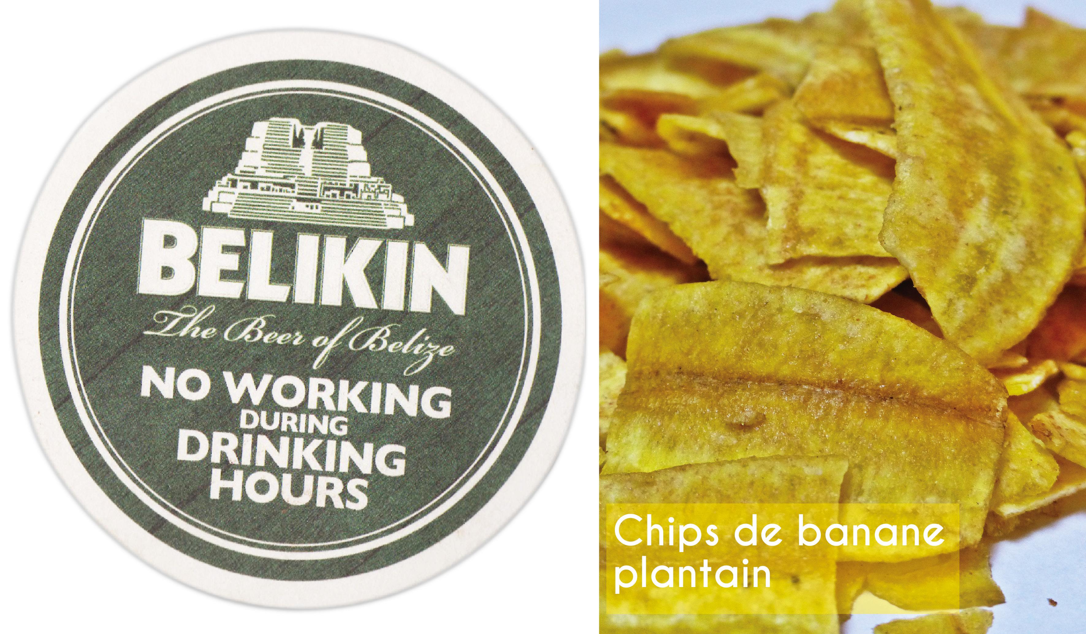belize, cuisine, banane, plantain, bière, belikin, chips,