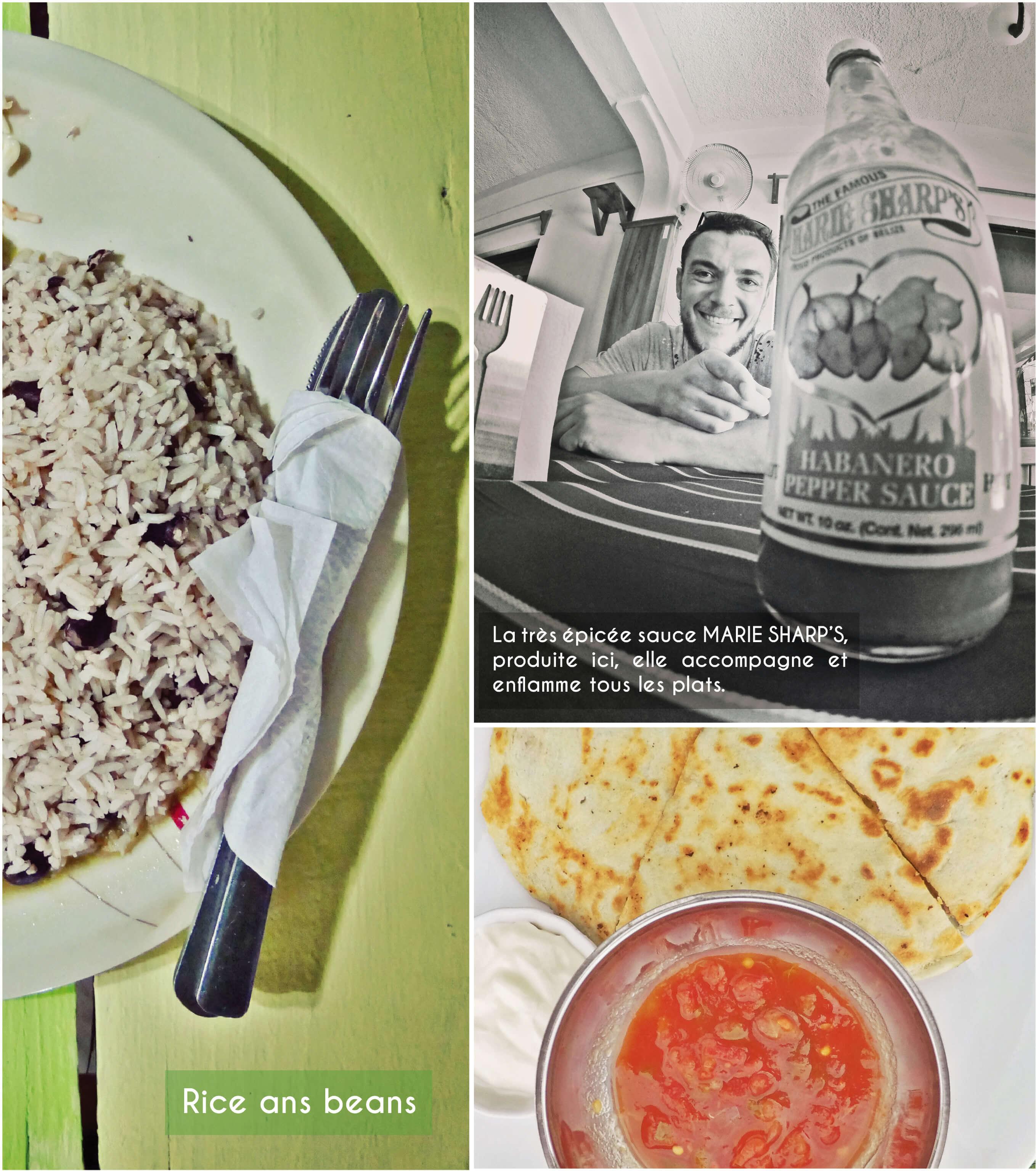 belize, cuisine, riz, haricots, sauce, piments, marie sharp's, quesadilla, rice, beans,
