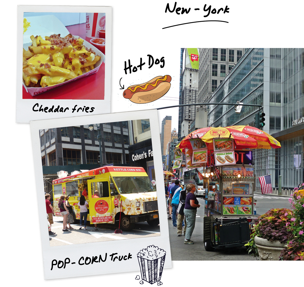 usa, New York, food, fast food, hot dog, frites, cheddar, bacon, pop corn, voyage, road trip