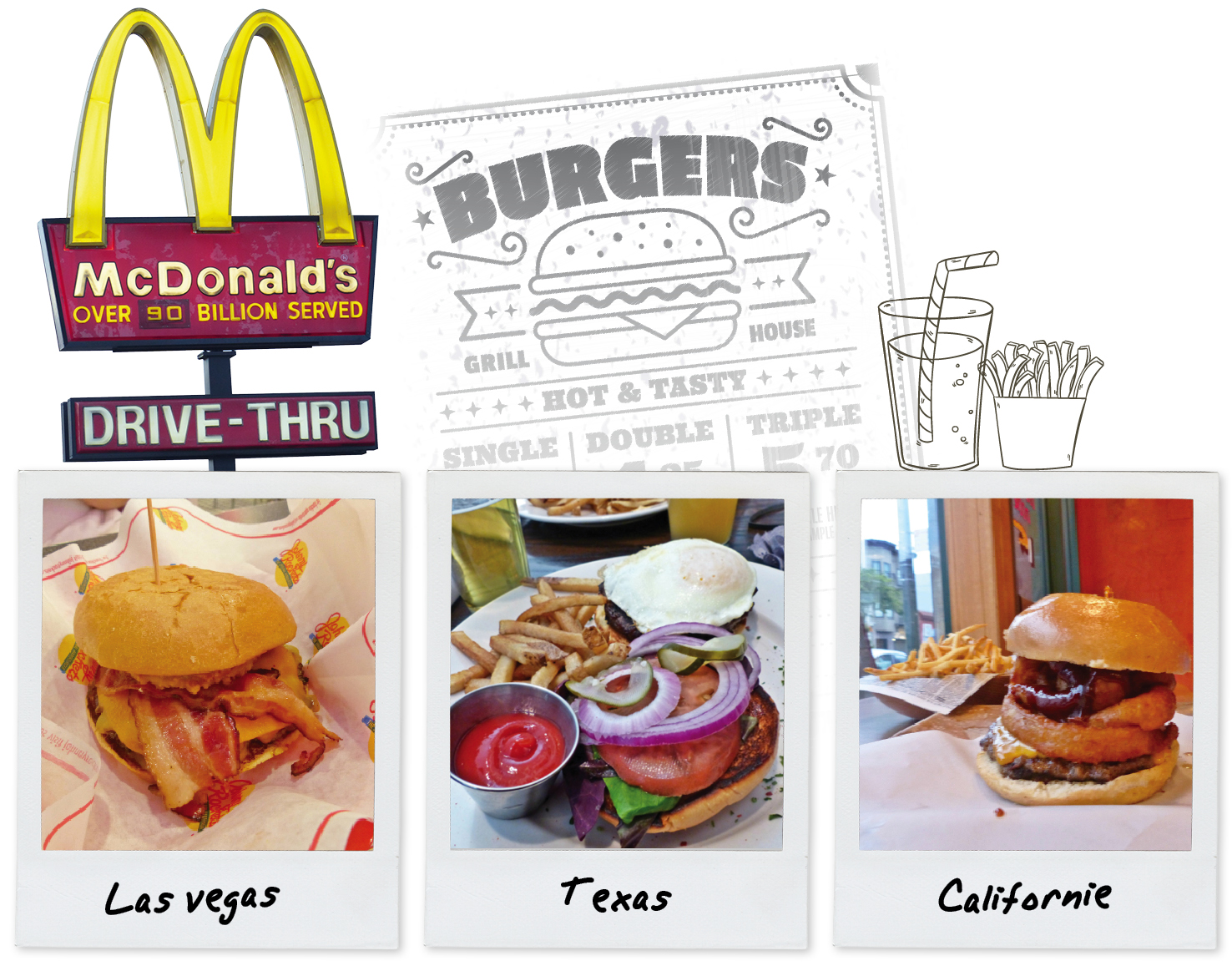 usa, food, fast food, hamburger, burgers, cheeseburger, frites, voyage, road trip