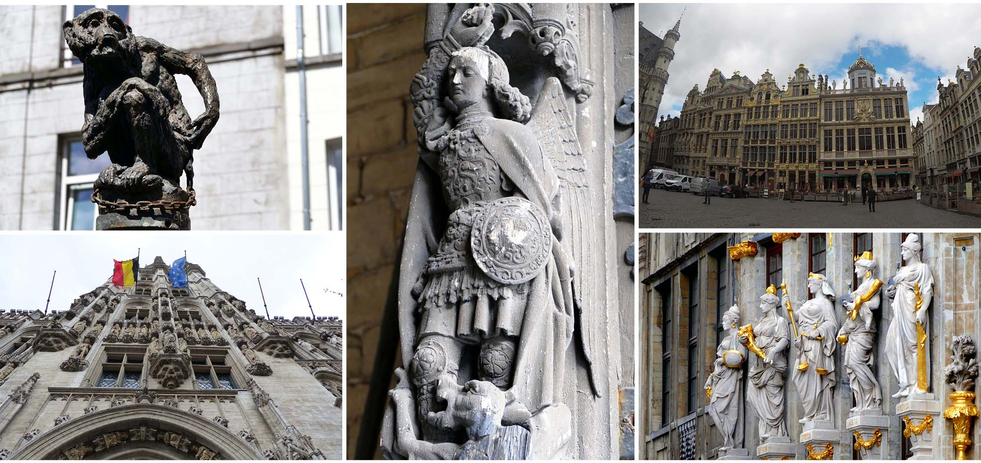 Bruxelles, europe, Belgique, bâtiment, drapeau, statues,