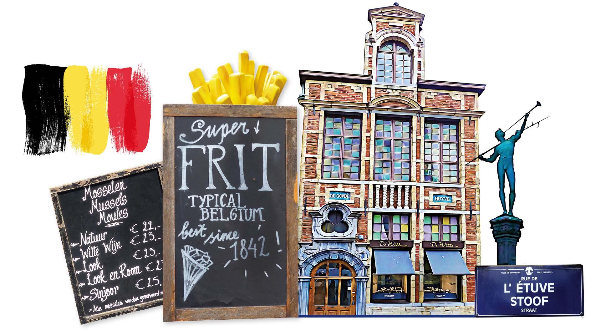 Bruxelles, europe, Belgique, statue, frites, bâtiment, menu, drapeau, straat