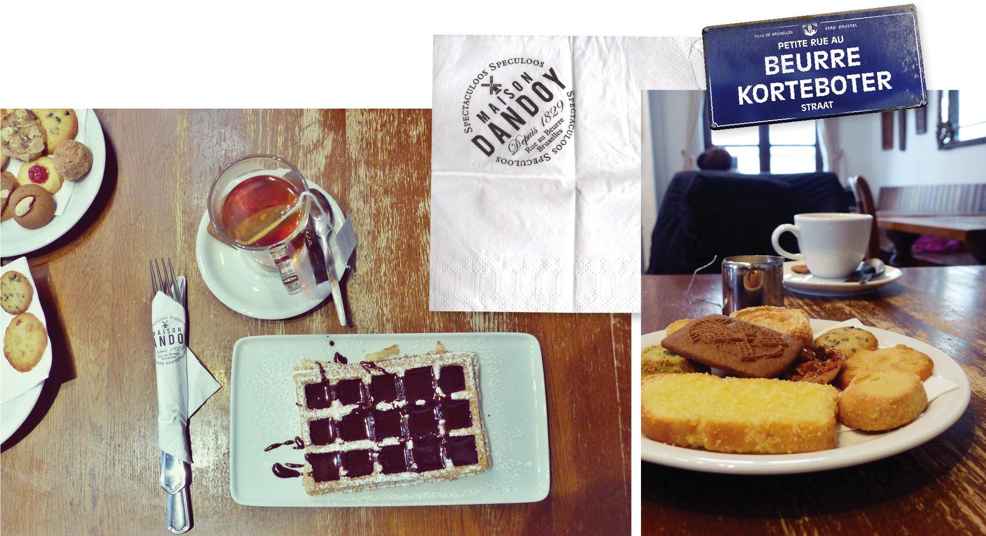 Bruxelles, europe, Belgique, food, nourriture, dandoy, salon de thé, gaufre, sucre glacé, sucre roux, gâteaux, thé, assiette, couvert, serviette, sablé, café, tasse