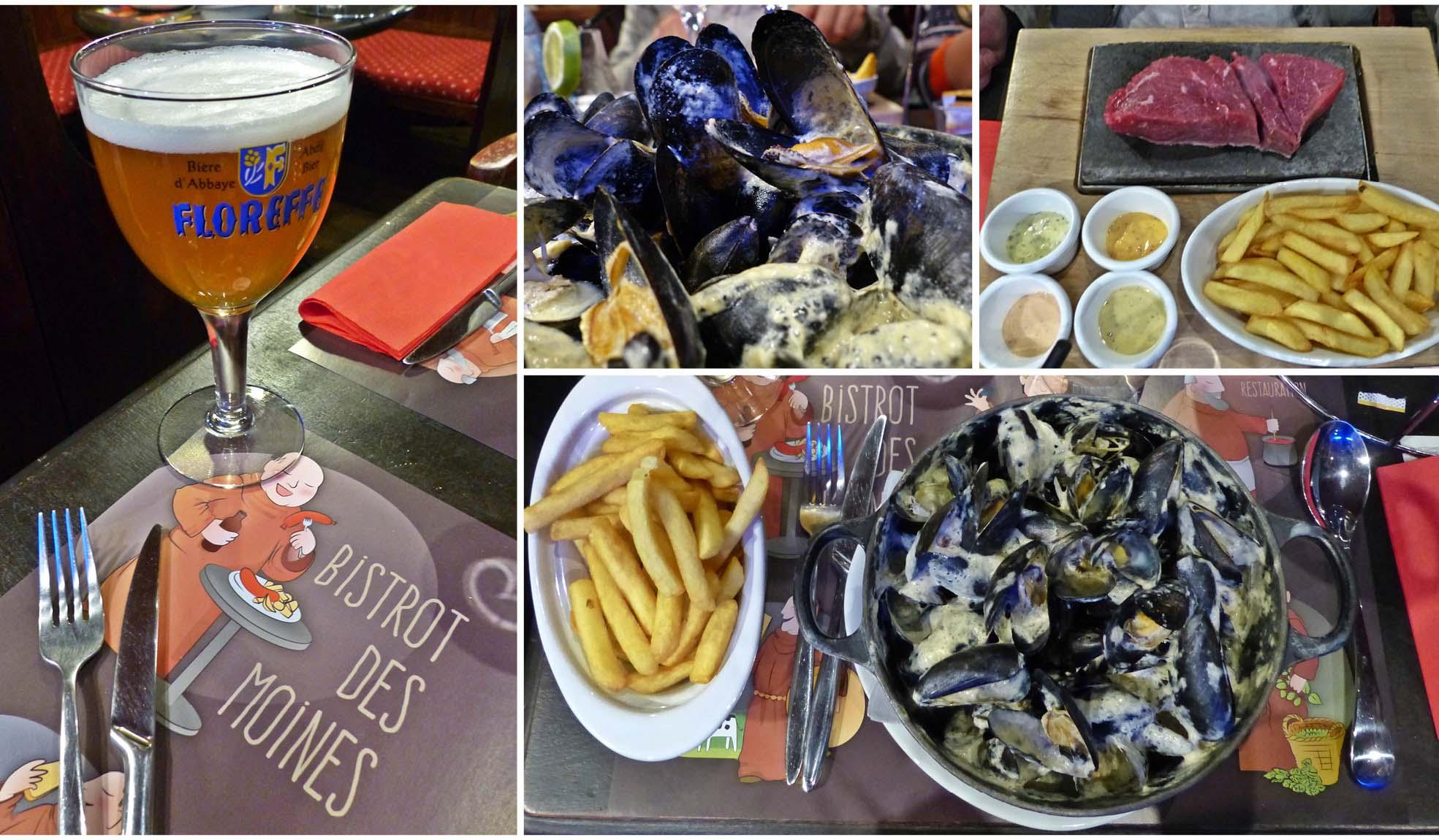 europe, France, road trip, voyage, ville, restaurant, bière, moule, frite, viande, sauces, assiette, table, brasserie, bistrot