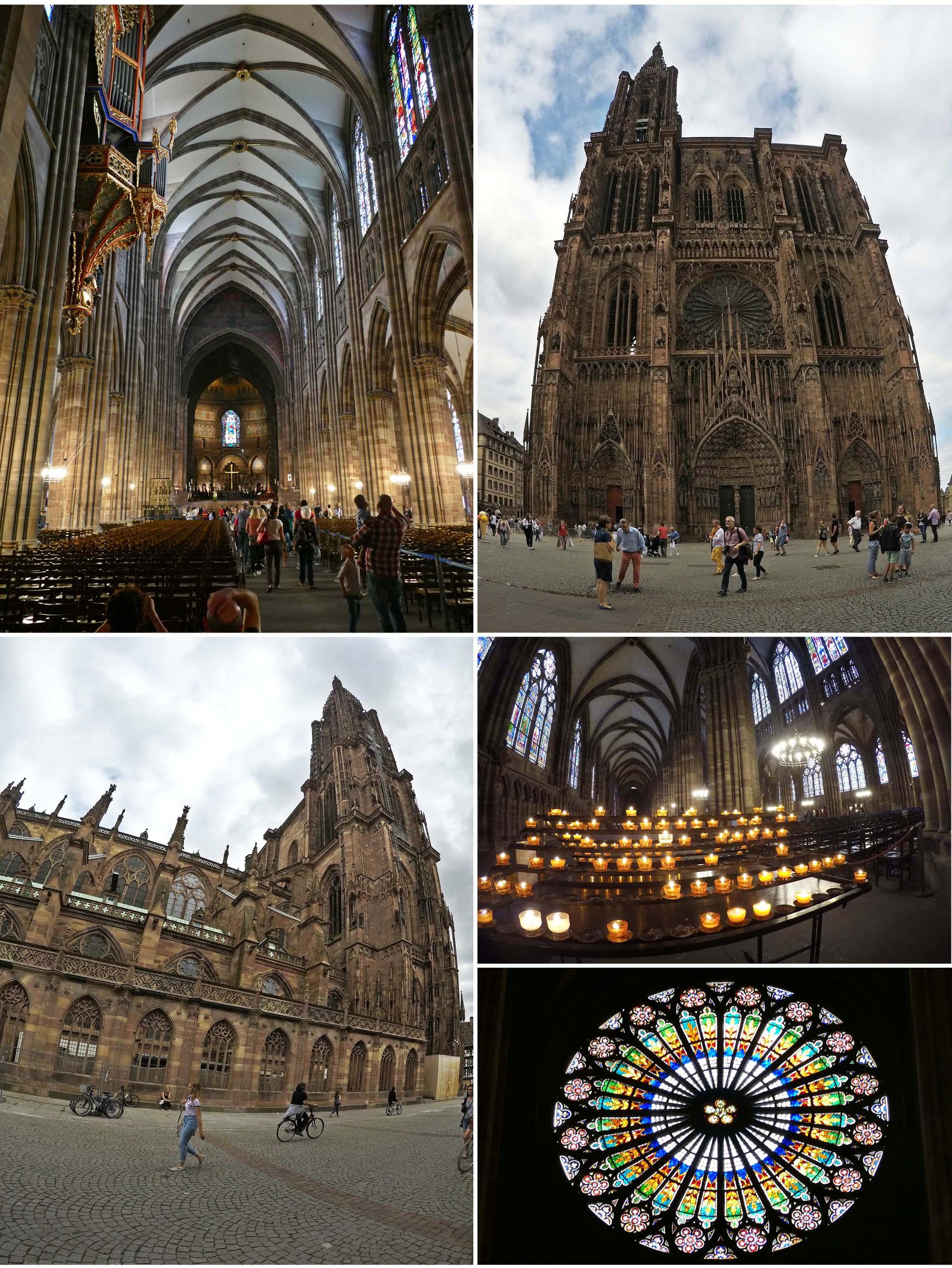 europe, France, road trip, voyage, ville, Strasbourg, cathédrale, bougie, vitraux, église, place, rue