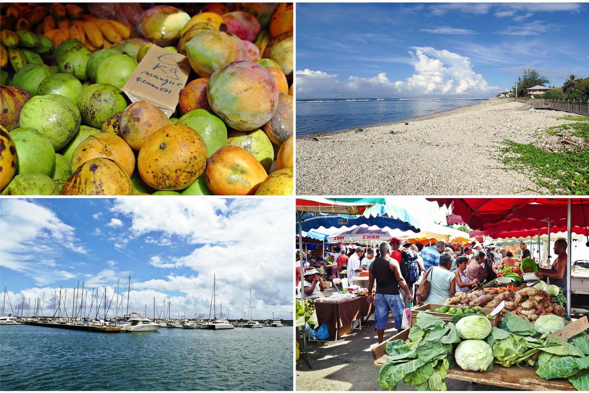 océan, la réunion, la reunion, île, ile, France, saint pierre, nature, lagon, plage, voyage, blog, marché, aliment, fruit, mangues, choux, nourriture, food, bateaux, port