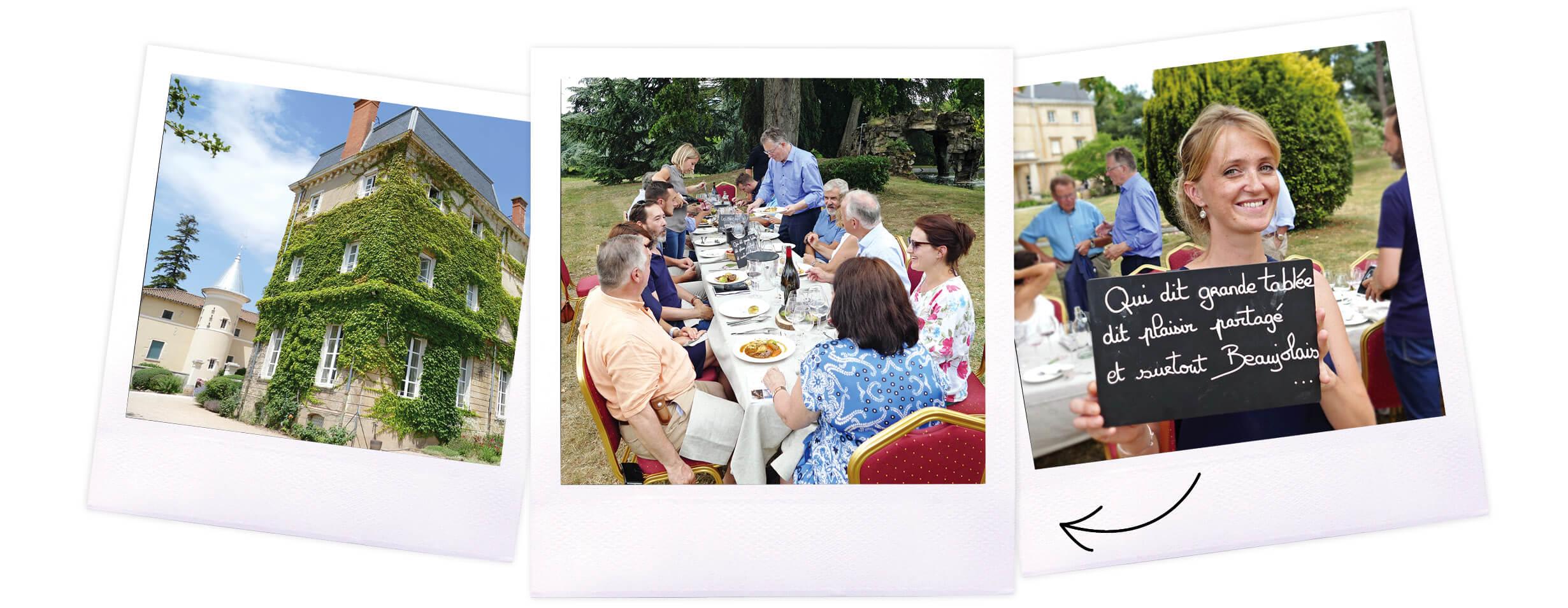 Bienvenue en Beaujonomie. Repas gastronomique avec des vins Beaujolais de caractère au château de Bellevue à Villié Morgon